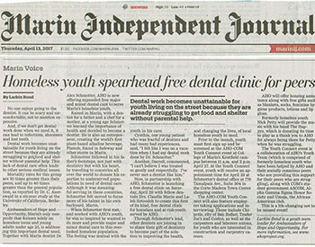 Marin Voice: Homeless youth spearhead free dental clinic for peers