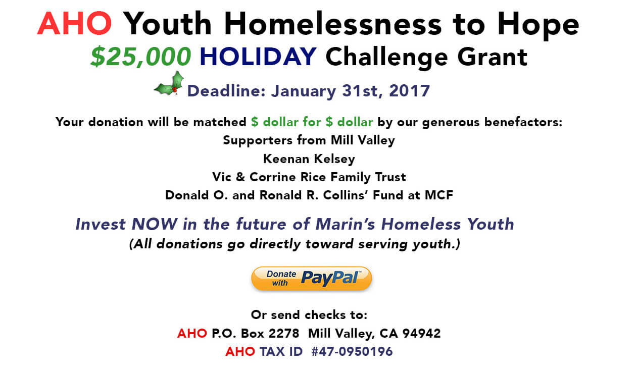 2016 Holiday Challenge Grant for Homeless Youth in Marin